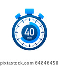 The 40 minutes, stopwatch vector icon. Stopwatch 64846458