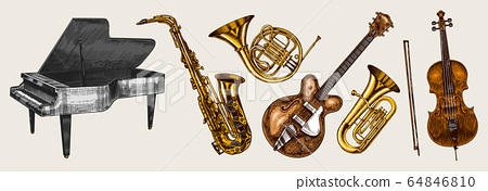 Jazz classical wind instruments set. Musical Trombone Trumpet Flute Bass guitar Semi-acoustic French 64846810