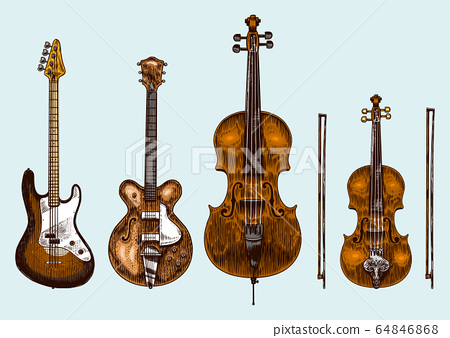 Jazz classical wind instruments set. Musical Bass guitar Semi-acoustic Cello Violin. Hand drawn 64846868