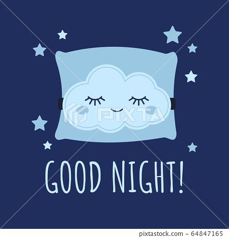 Cute cloud sleep mask on pillow and stars around baby print. 64847165