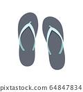 Flip-flop set on a white background. Rubber slippers. Vector illustration. 64847834