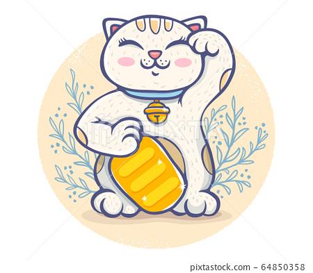 Vector kawaii lucky cat 64850358