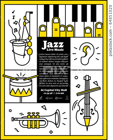 Jazz live music banner poster with ear and instrument saxophone, drum, piano, trumpet, double bass illustration vector. Jazz music concept. 64851020