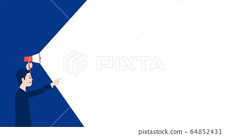一個男人拿著擴音器,公告的圖像的插圖 64852431