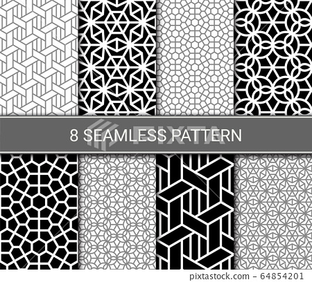 Set of abstract geometric seamless patterns, vector illustration 64854201