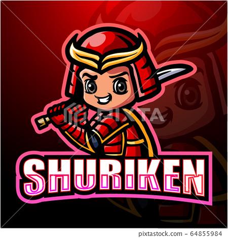 Shuriken Ninja mascot esport logo design 64855984