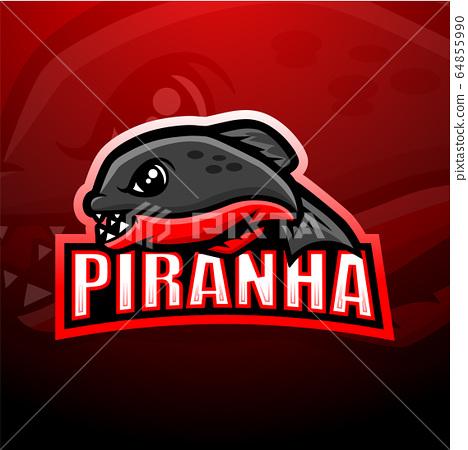 Piranha mascot esport logo design 64855990