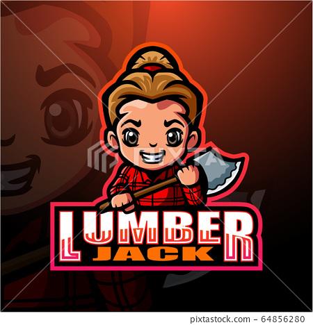 Lumberjack mascot esport logo design 64856280