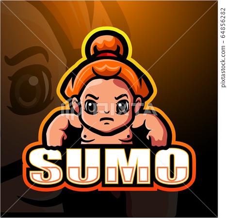 Sumo mascot esport logo design 64856282