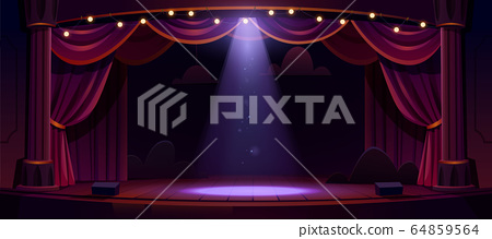 Dark theater stage with red curtains and spotlight 64859564