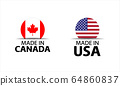 Set of two Canadian and United States of America stickers. Made in Canada and Made in USA 64860837