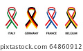 Set of four Italian, German, Belgian and French stripe ribbons. Pray for Italy, France 64860912
