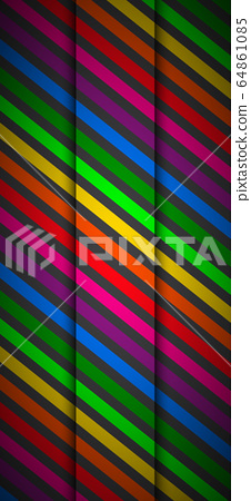 Modern rainbow colored cellphone background. Colorful lines on black background 64861085
