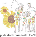 해바라기를 배경으로 여름의 이미지 가족 64861520