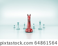 Chess business concept, leader & success. Business strategy brainstorm chess board game  with free copy space for your text. 3D Render Chess Board Isolated with Clipping Path, Clipping Mask. 64861564