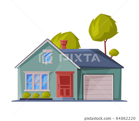 Green Small Cottage Facade with Garage, City or Country Street Building, Modern Residential House Real Estate Flat Vector Illustration 64862220