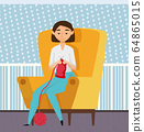 Knitting Hobby, Crocheting Leisure at Home Vector 64865015