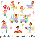 Happy Little Kids Riding on Carousel and Train Vector Set 64865859