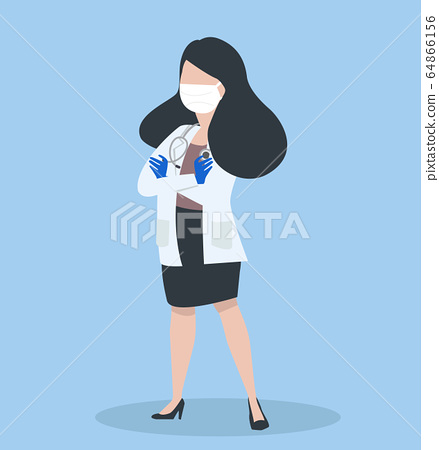Female doctor  poses on blue background 64866156