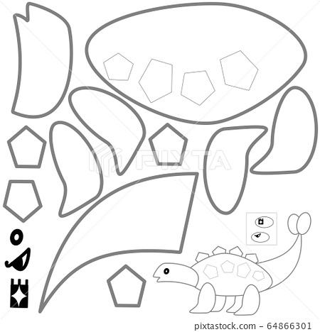 Hand-painted, cut-and-pasted, handmade dinosaur activity 64866301