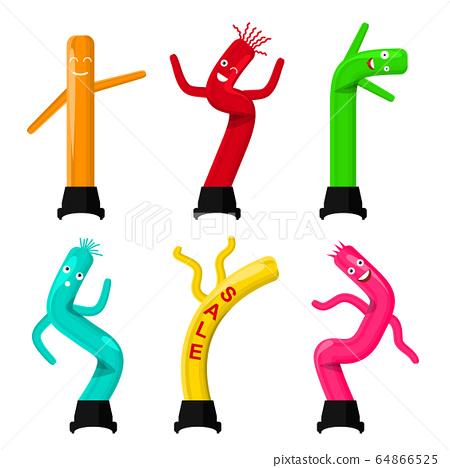 Cartoon Color Dancing Inflatable Tube Men Icon Set. Vector 64866525