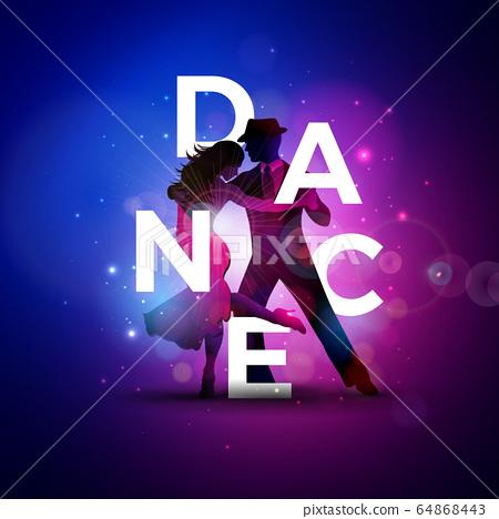 Dance Illustration With Tango Dancing Couple Stock Illustration 64868443 Pixta