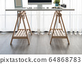 Modern interior. Comfortable workplace. Wooden 64868783