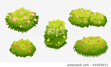 Green bushes with various flowers. Green bushes with pink 64869652