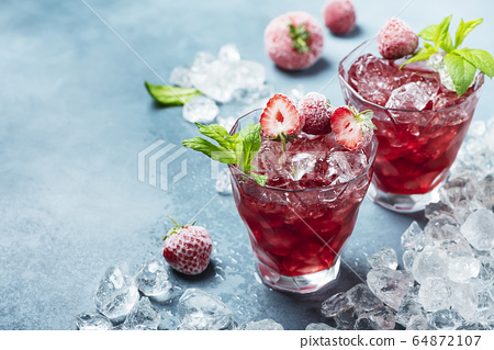 cocktail with frozen strawberry 64872107