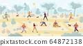 People enjoying outdoor fitness in public park 64872138