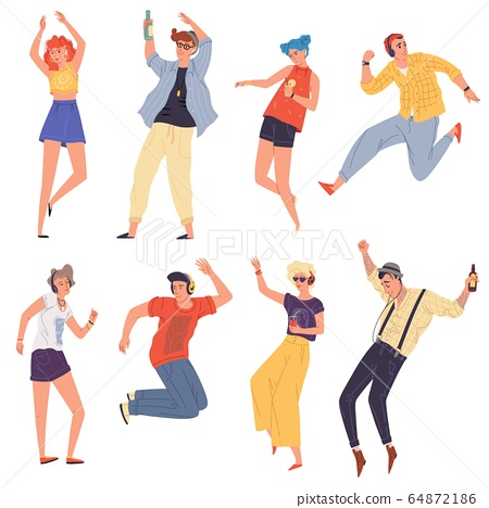 Young creative people, dancers, students in headphones dancing, jumping, rythmical moving. 64872186