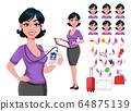 Young beautiful business woman with stylish 64875139