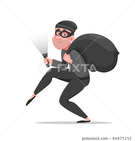 Cartoon thief walking carefully. Funny burglar 64875152