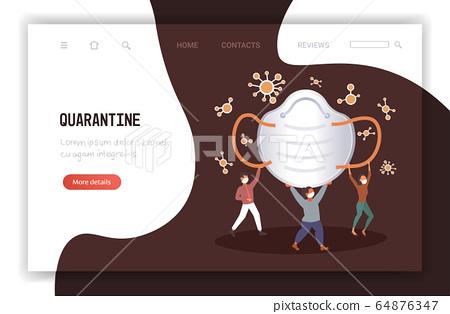 people holding antiviral medical respiratory face mask protection against coronavirus pandemic quarantine 64876347