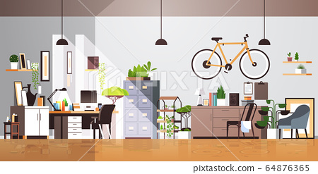 modern workplace cabinet empty living room interior no people apartment with furniture horizontal 64876365