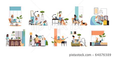 set mix race women freelancers using laptop working at home during coronavirus quarantine freelance 64876389