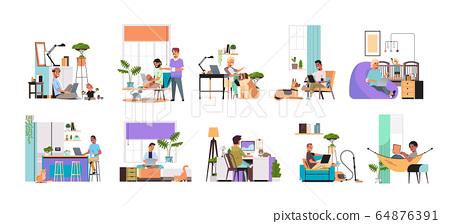 set mix race men freelancers using laptop working at home during coronavirus quarantine freelance 64876391