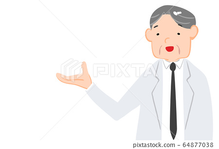 Illustration showing a man in a white coat looking upwards 64877038