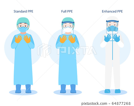Set of Doctors Character wearing in PPE personal 64877268
