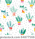 Indoor plants in colorful ceramic pots seamless vector pattern. Repeating background with potted 64877566