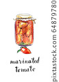 Glass jar of marinated tomatoes 64879780