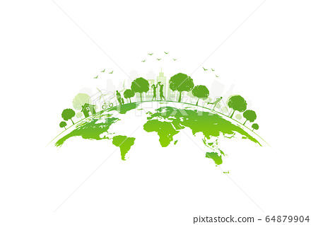 Ecology concept with green city on earth, World envirolmental and ecology friendly concept  64879904
