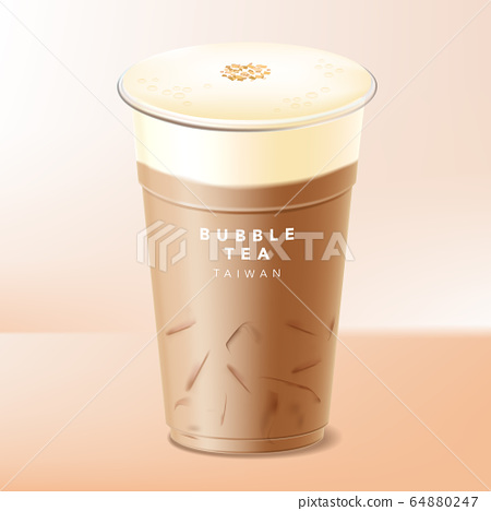 Vector Iced Milk Top, Cover or Cap Taiwanese Bubble Tea, Coffee or Chocolate 64880247