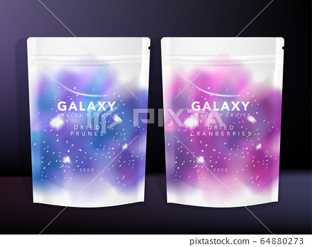Vector Sachet, Pouch, Foil Bag Packaging, Starry Universe theme printed 64880273