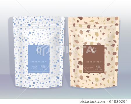 Vector White & Brown Kraft Paper Resealable Sachet or Pouch with Marble Stone Themed Design 64880294