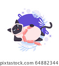 Cartoon Ragdoll or Birman cat has eaten of sausages and after that lies on the ground. He is pleased and the happiest pet on this planet. Completed and isolated vector illustration. 64882344