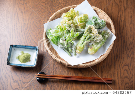 japanese traditional wild vegetable tempura with 64882567