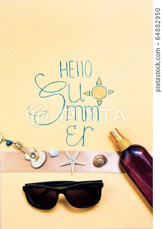Hello Summer calligraphy card with seasonal 64882950