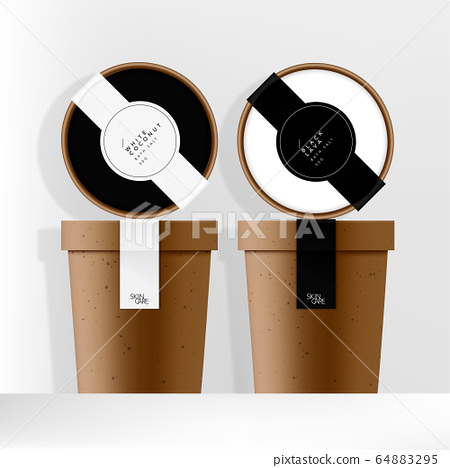 Vector Recycled Kraft Paper Jar or Cup Packaging with Minimal Designed Black & White Labels 64883295