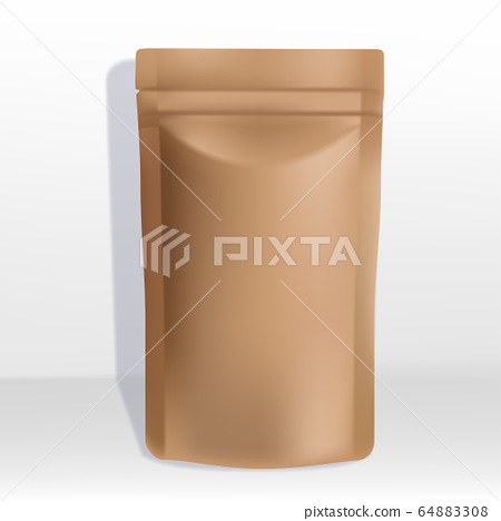 Vector Kraft Paper Zipper Pouch or Sachet Packaging 64883308